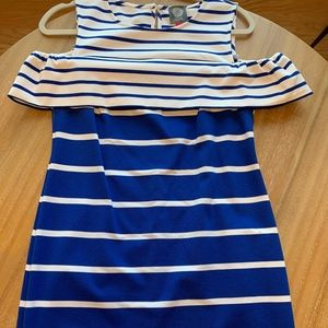 Vince Camuto Blue & White Striped/Off the shoulder